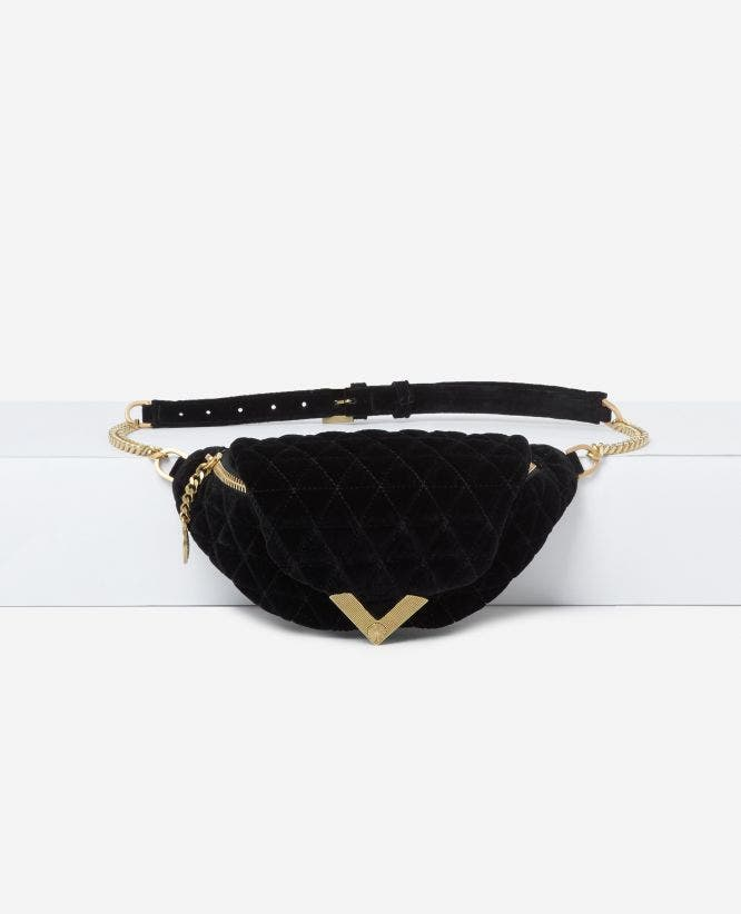 Stella black velvet waist bag by The Kooples