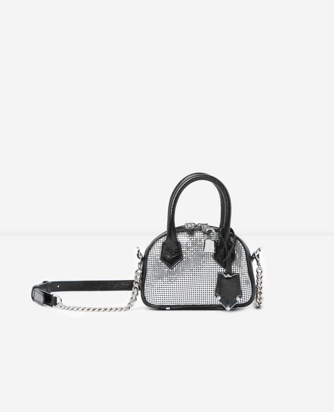 Irina silver chain mail nano bag by The Kooples