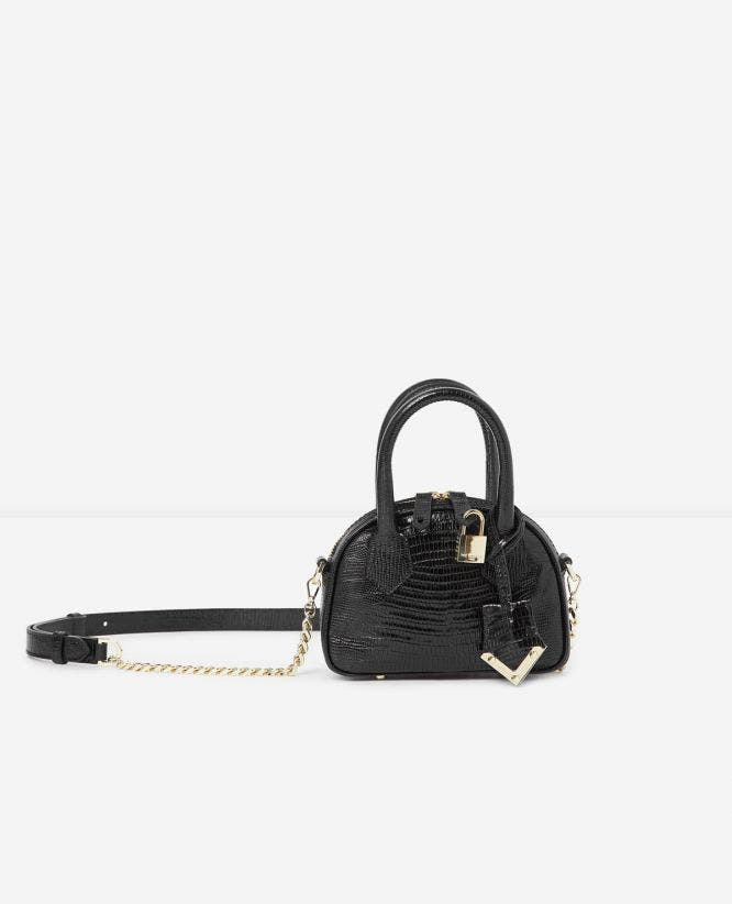 Black nano lizard-print Irina bag