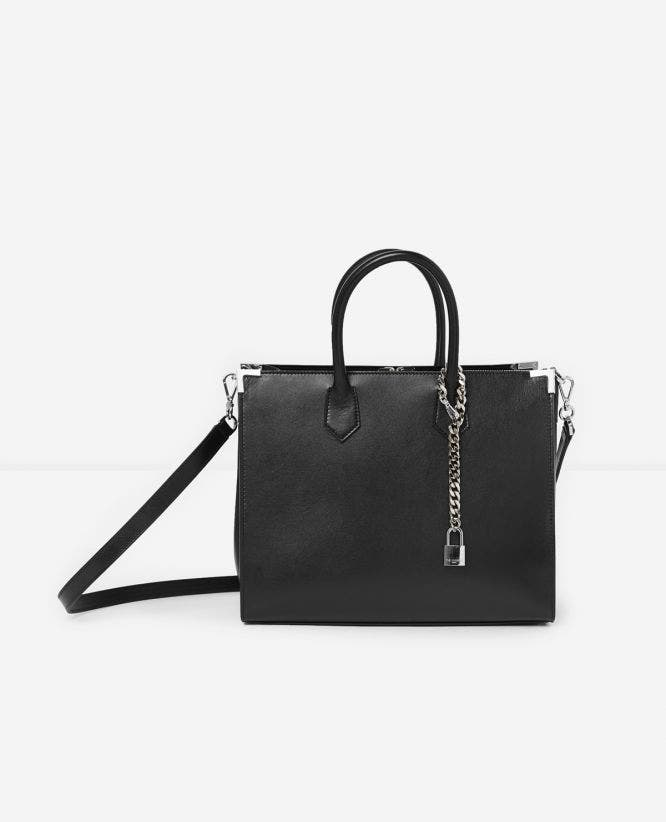 Large Ming bag in smooth black leather