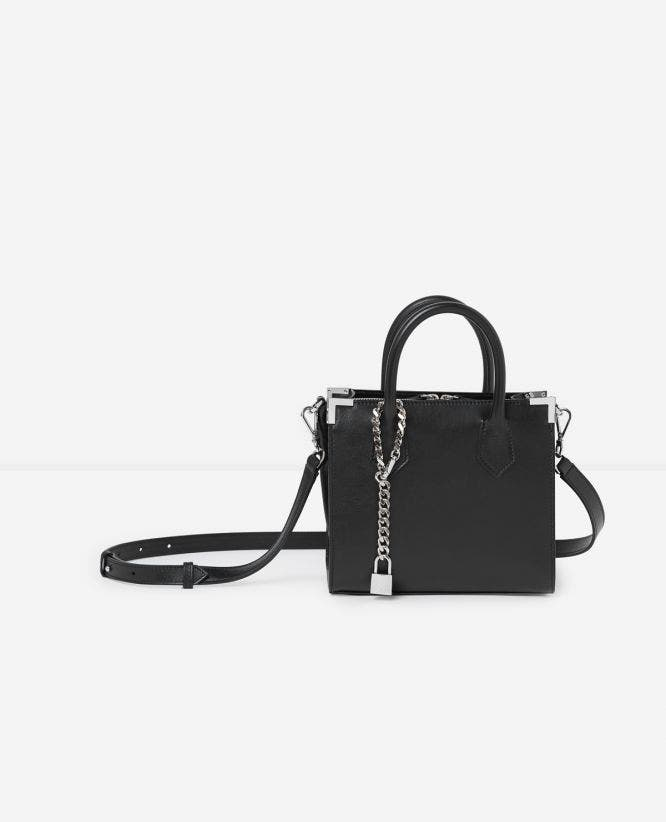 Medium Ming bag in smooth black leather