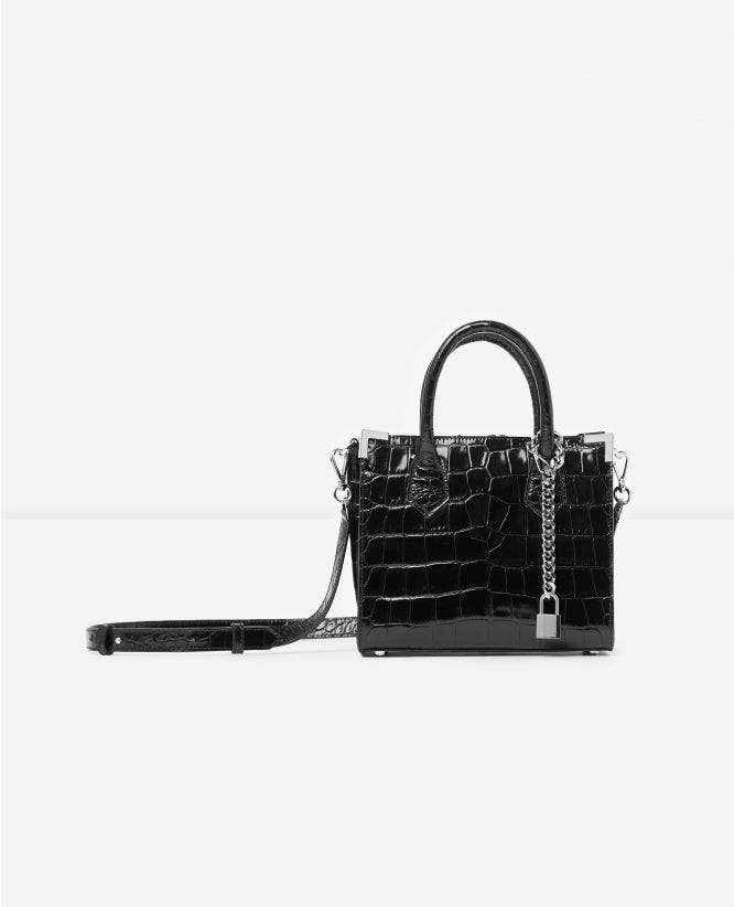 Medium black crocodile-print Ming bag