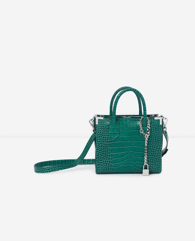 Ming medium green leather handbag