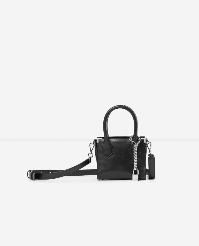 Nano Ming bag in smooth black leather