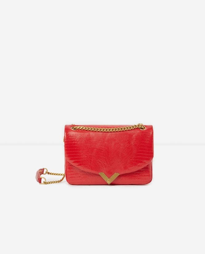 Medium red lizard-print Stella bag