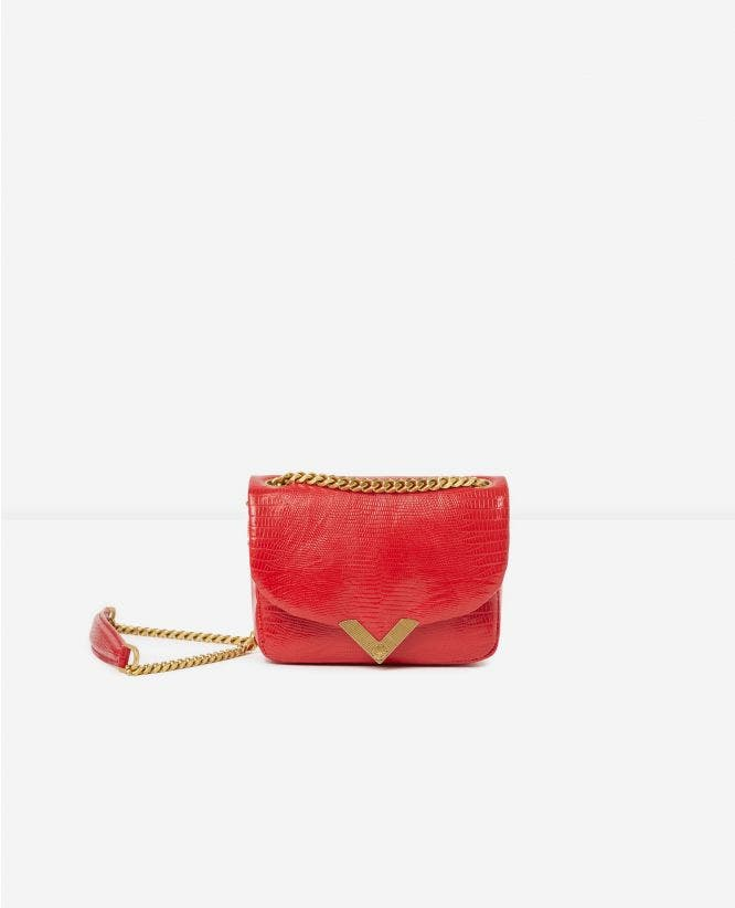 Mini red lizard-print Stella bag