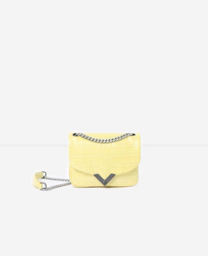 Mini yellow crocodile-print Stella bag