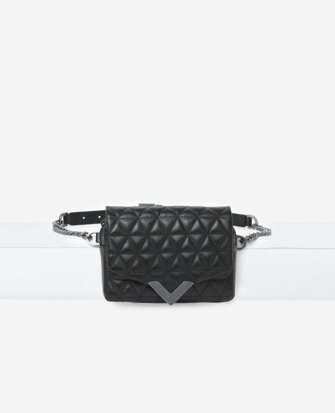 Zwarte heuptas Stella by The Kooples van leer