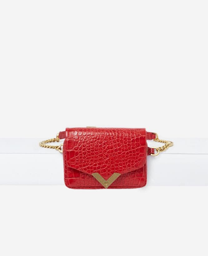 Stella red, crocodile leather waist bag by The Kooples