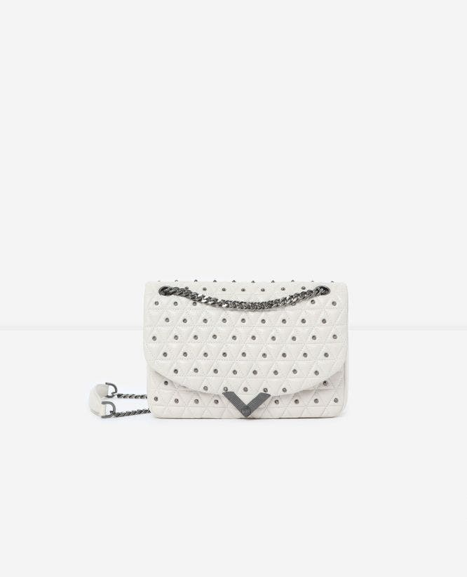 Witte leren medium tas Stella by The Kooples zilveren studs