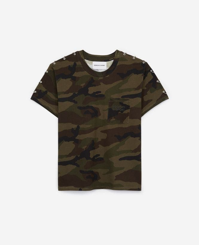 Camouflage-printed T-shirt with piercings