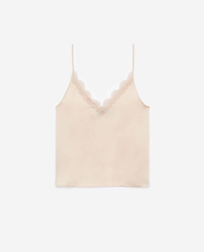Silk beige camisole with lace and V-neck
