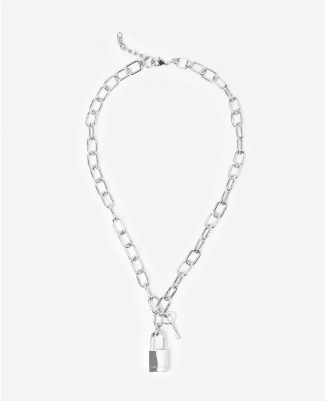 Long silver chain necklace with padlock