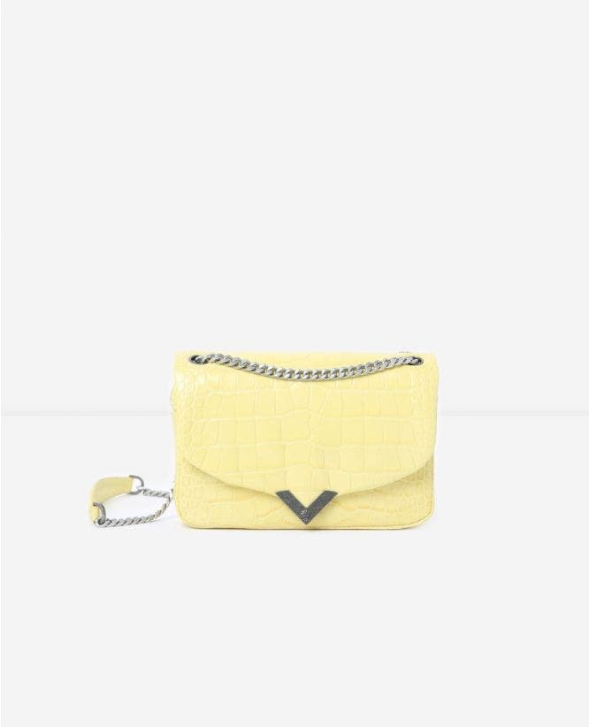 Medium yellow crocodile-print Stella bag