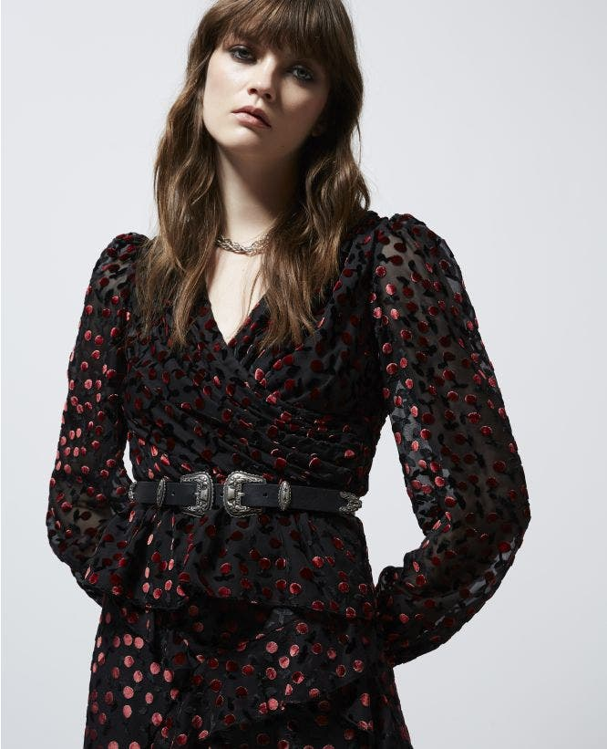 Rock'n'roll velvet top with cherry print