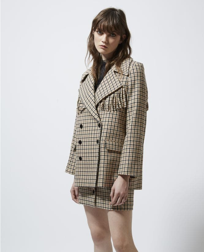 Patterned formal wool jacket with fringing