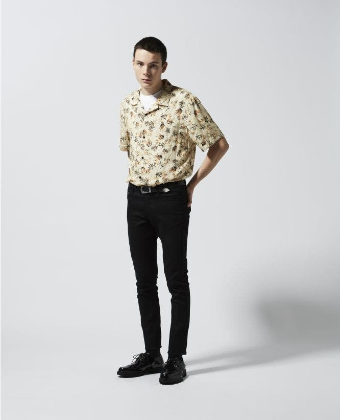 Loose-fitting printed shirt w/short sleeves