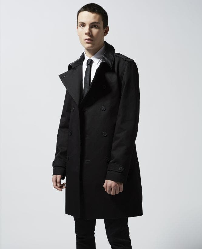 Black cotton trench with leather collar