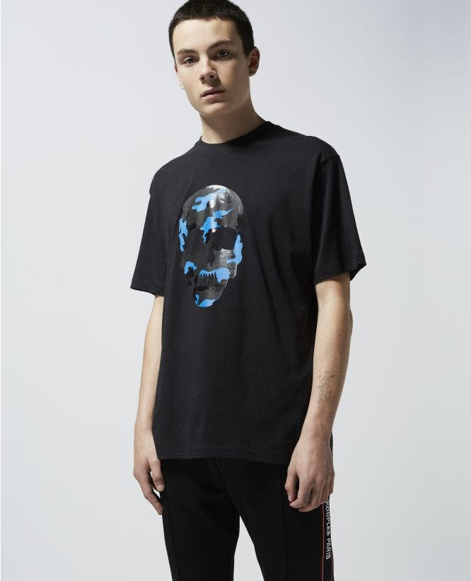 Printed black T-shirt with colorful skull