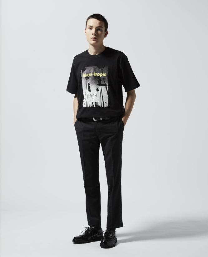 Tropical printed black T-shirt in cotton
