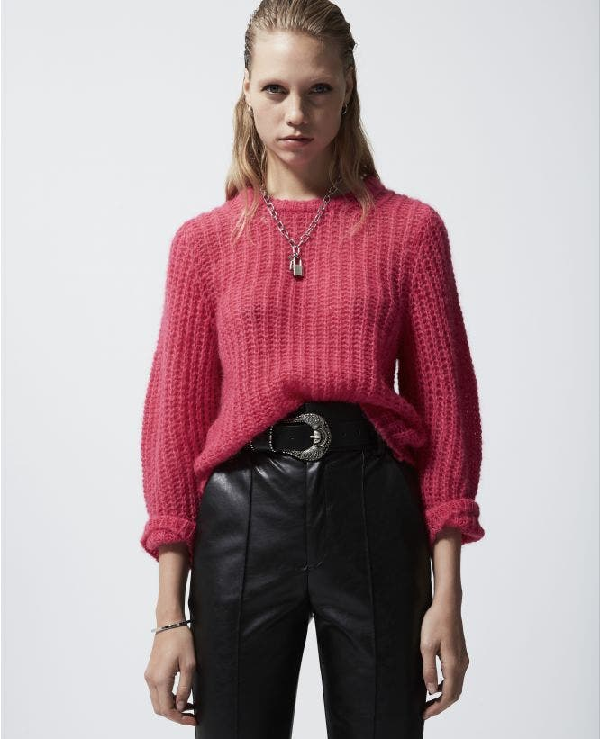 Pink mohair sweater with crew neck