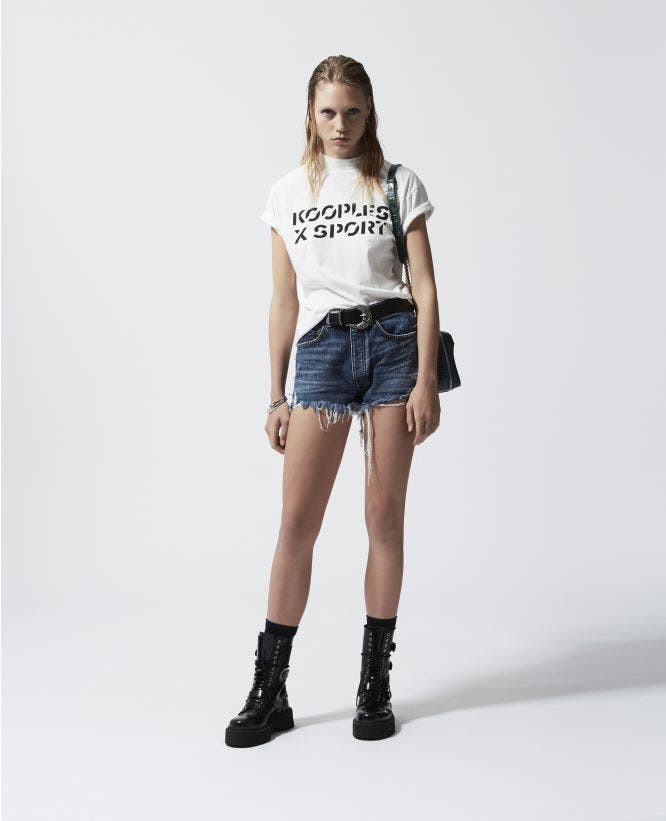 White cotton T-shirt with The Kooples print
