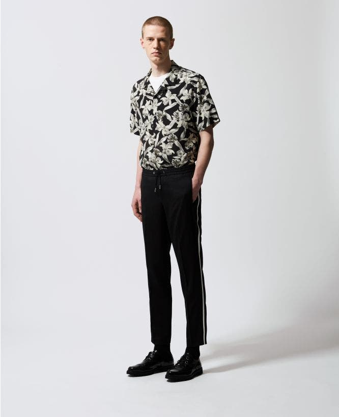 Black wool pants with white stripes