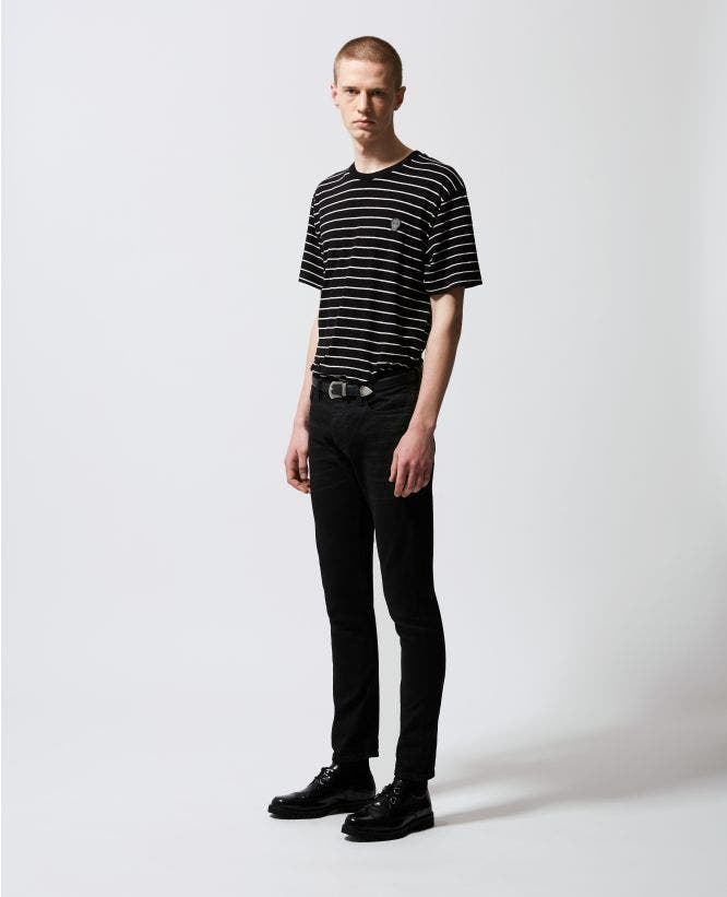 Striped black T-shirt with badge