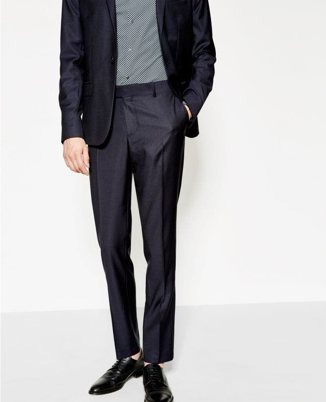 더 쿠플스 The Kooples Pantalon de costume bleu marine micro-motifs